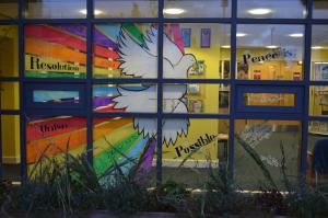 Entrance way window illustrations for St Nicholas C of E Primary School